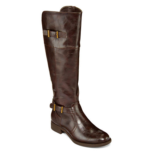 Yuu™ Rocio Womens Double-Buckle Wide Calf Riding Boots