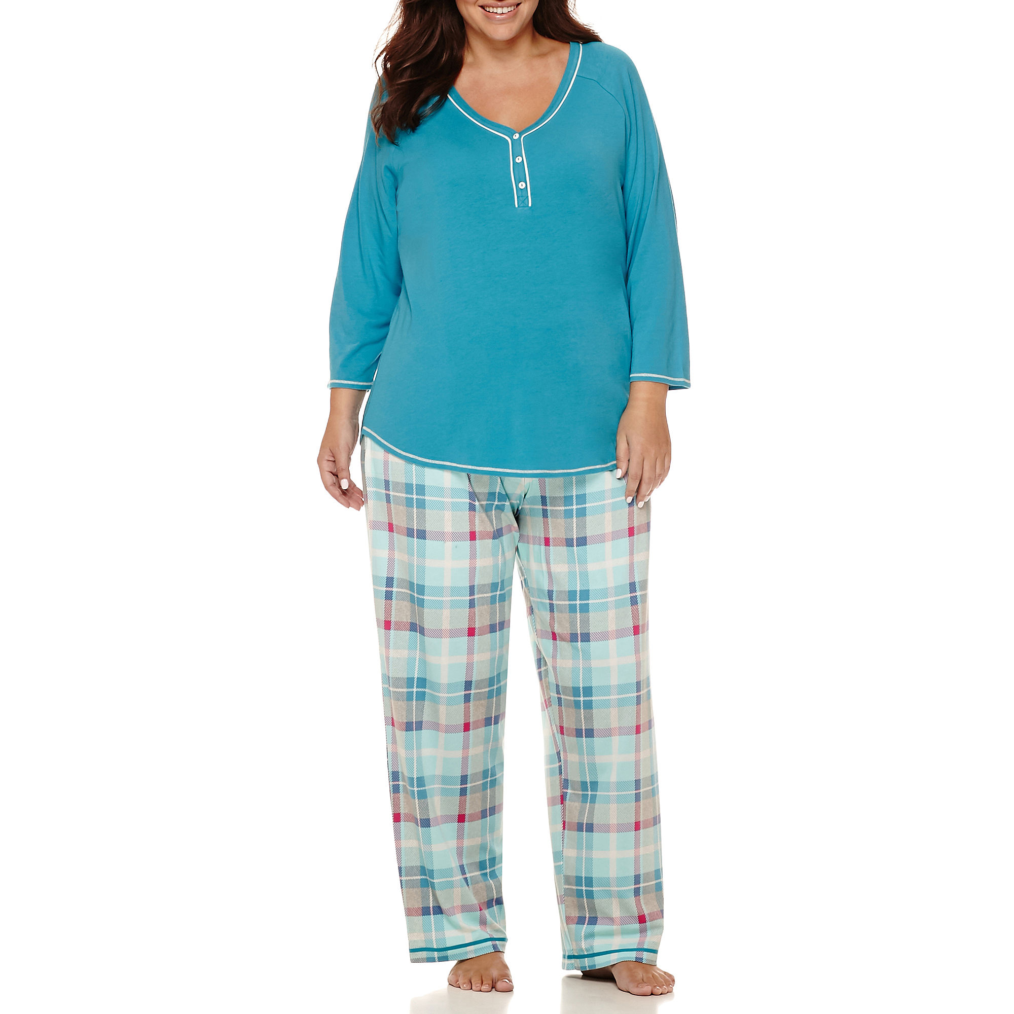 Sleep Chic 3/4-Sleeve Knit V-Neck Top and Pants Pajama Set - Plus plus size,  plus size fashion plus size appare
