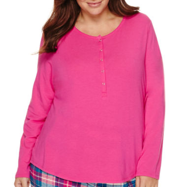 jcpenney.com | Liz Claiborne® Long-Sleeve Henley Sleep Tee - Plus
