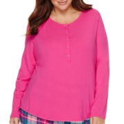 Liz Claiborne® Long-Sleeve Henley Sleep Tee - Plus