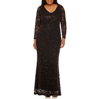 jcpenney.com | Blu Sage Long-Sleeve Lace Sequin Gown - Plus