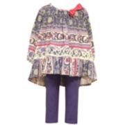 Bonnie Jean® 3/4-Sleeve Print Top and Knit Leggings Set - Baby Girls 3m-24m