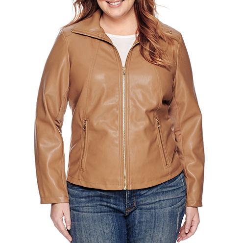 Liz Claiborne® Faux-Leather Wing-Collar Jacket - Plus