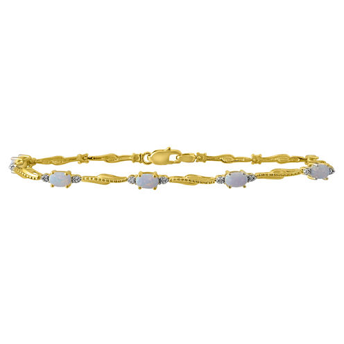 Lab Created Opal & Diamond Accent 14k Gold Over Silver Bracelet