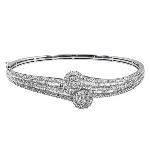 Diamond Blossom Womens 2 CT. T.W. White Diamond 10K Gold Bangle Bracelet