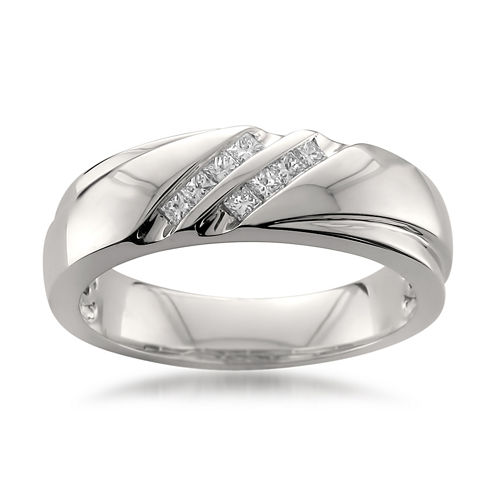 Mens 1/4 CT. T.W. White Diamond Platinum Wedding Band