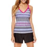 ZeroXposur® Weave Ladderback Tankini Swim Top or Knit Action Shorts