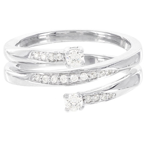 Womens 1/4 CT. T.W. White Diamond Sterling Silver Cocktail Ring