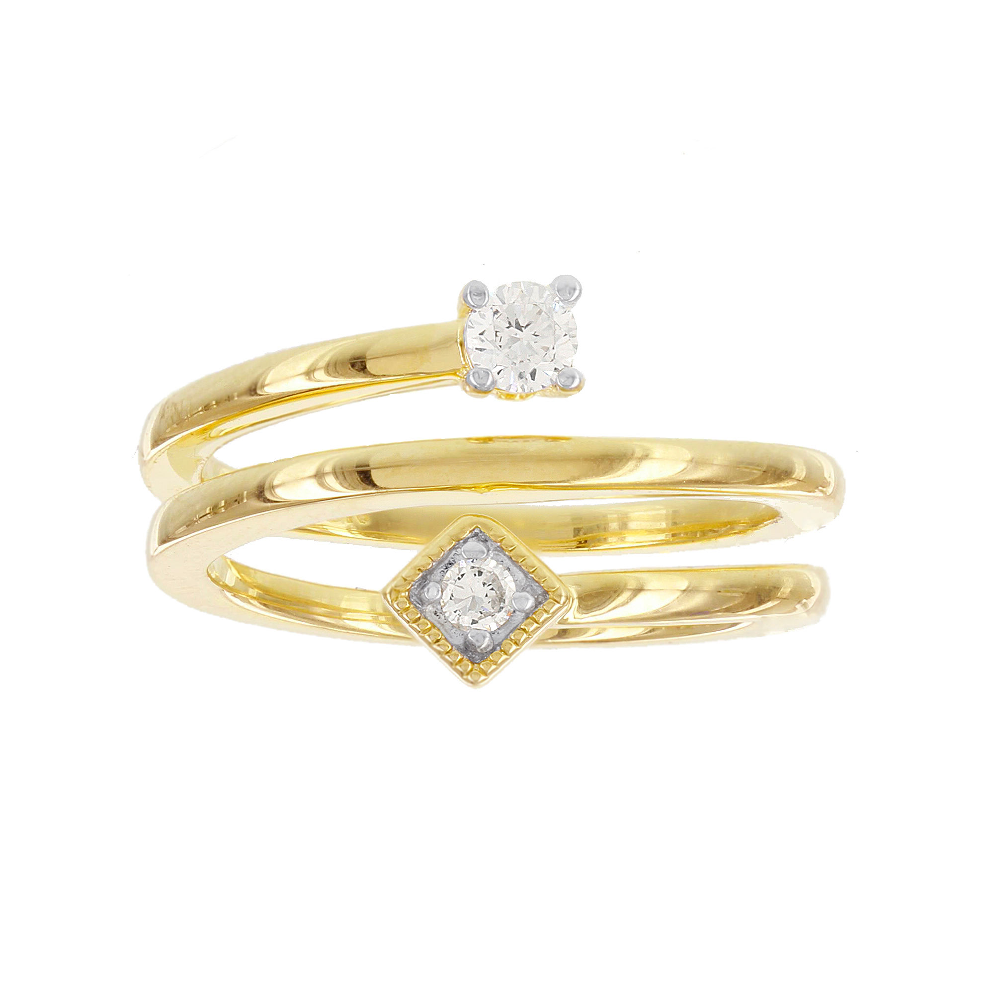 Womens 1/5 CT. T.W. White Diamond Gold Over Silver Cocktail Ring