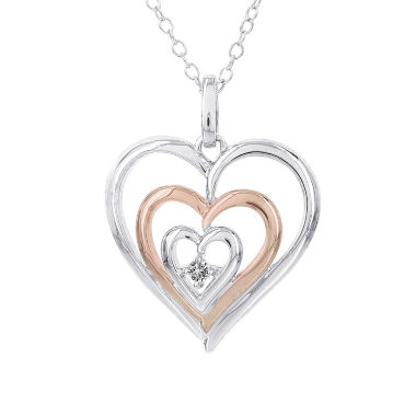 jcpenney.com | Womens 1/10 CT. T.W. White Diamond Sterling Silver Gold Over Silver Pendant Necklace