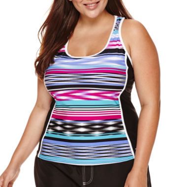 jcpenney.com | ZeroXposur® Echo Sport Striped Tankini Swimsuit Top - Plus
