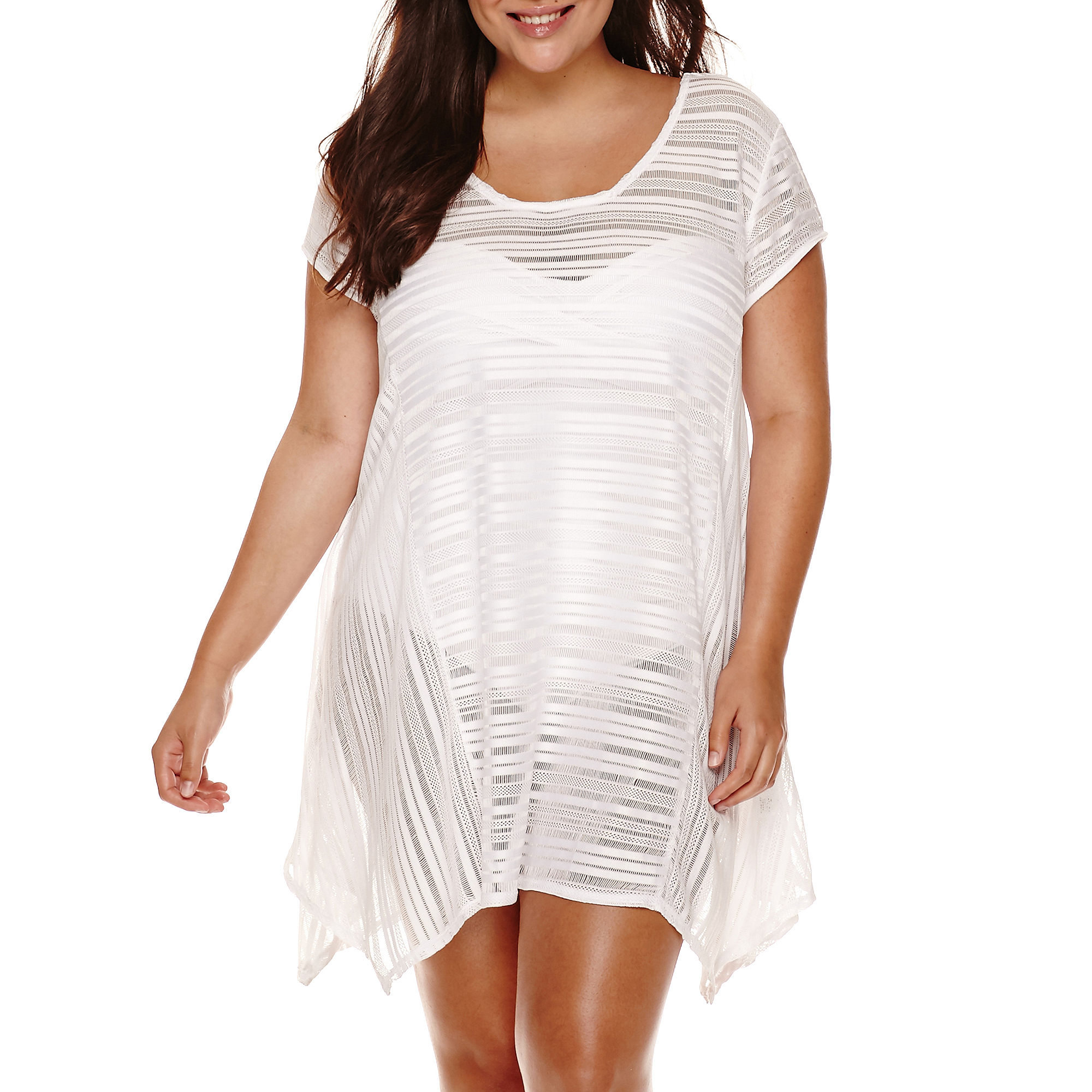 a.n.a Cap-Sleeve Mini-Crochet Stripe Sharkbite Dress Cover-Up - Plus plus size,  plus size fashion plus size appare