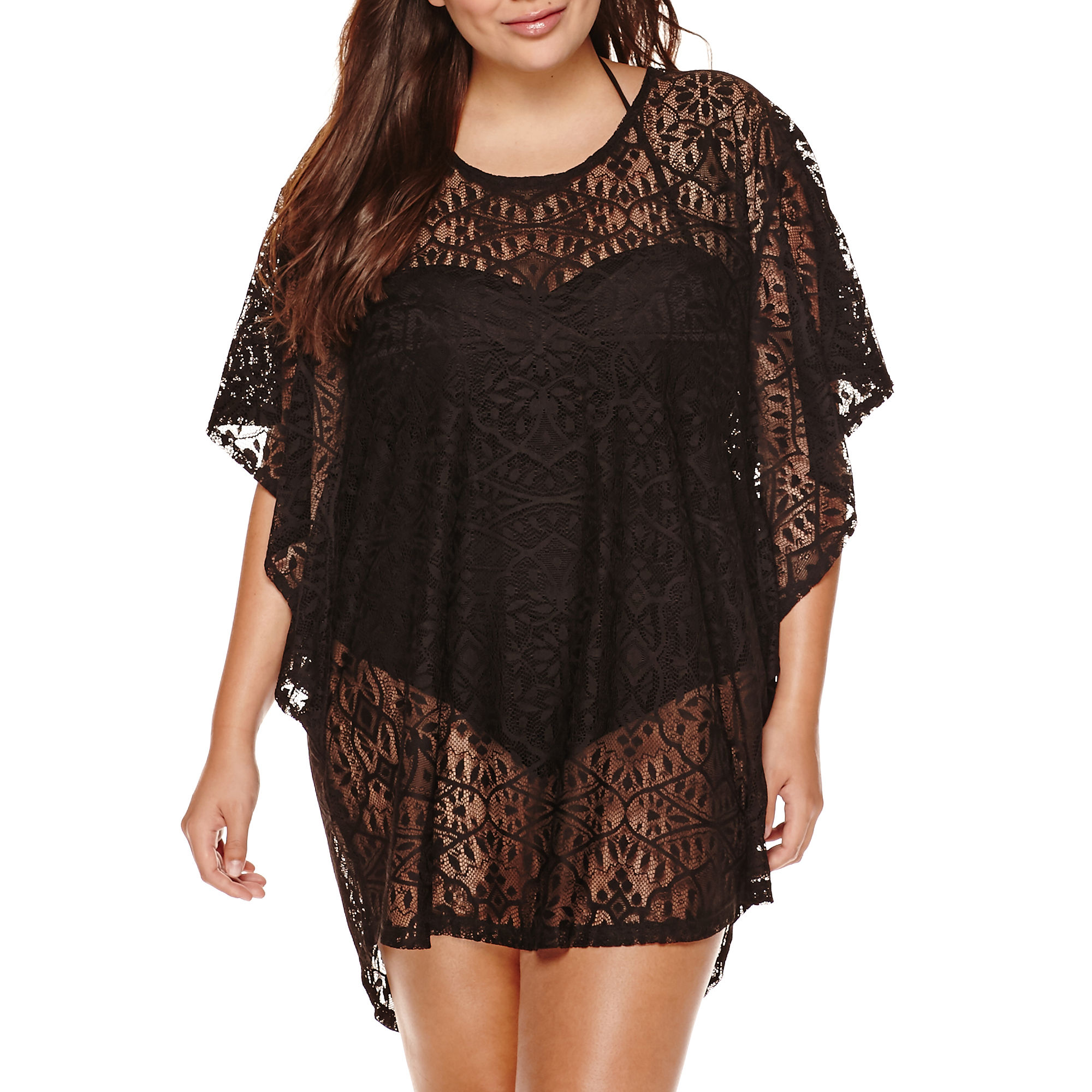 a.n.a Flutter-Sleeve Crochet Tunic Cover-Up - Plus