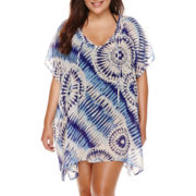 a.n.a® Cap-Sleeve Boardwalk Tie-Dye Chiffon Kimono Cover-Up - Plus