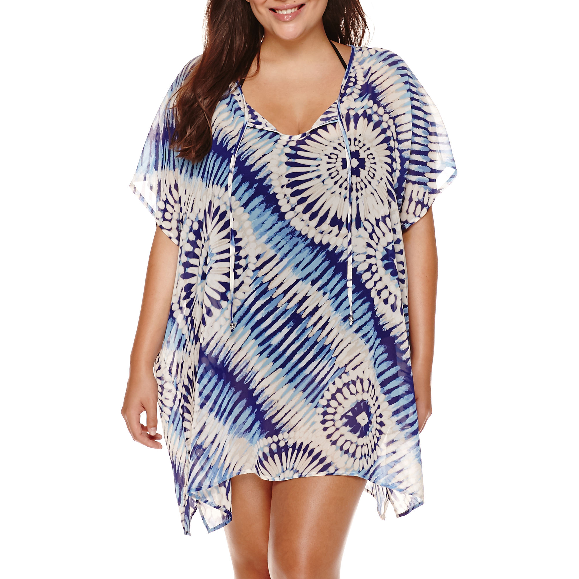 a.n.a Cap-Sleeve Boardwalk Tie-Dye Chiffon Kimono Cover-Up - Plus
