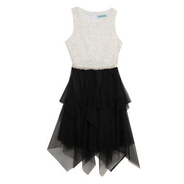 jcpenney.com | Rare Editions Black & White Sleeveless Illusion Neck Lace to Mesh fairy Party Dress - Big Kid