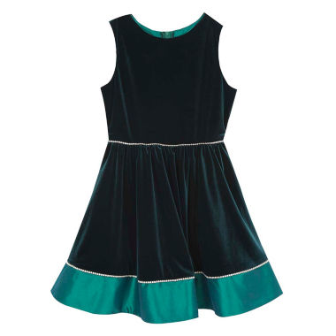jcpenney.com | Rare Editions Hunter Green Sleeveless Velvet Taffeta Party Dress - Big Kid