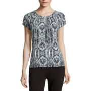 Liz Claiborne® Short-Saddle-Sleeve Keyhole Top