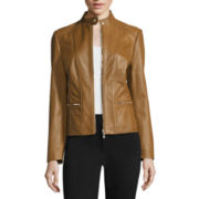 Liz Claiborne® Zip-Front Leather Jacket