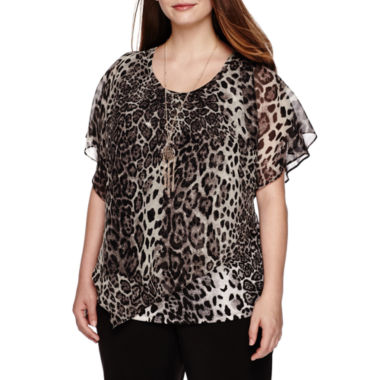jcpenney.com | Alyx® Short-Sleeve Animal-Print Popover Top with Necklace - Plus
