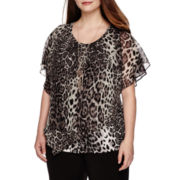 Alyx® Short-Sleeve Animal-Print Popover Top with Necklace - Plus