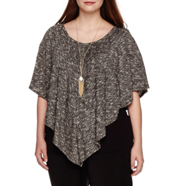 jcpenney.com | Alyx® Short-Sleeve Textured Popover Top with Necklace - Plus