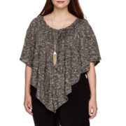 Alyx® Short-Sleeve Textured Popover Top with Necklace - Plus