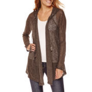 Unity™ Long-Sleeve Hooded Textured Knit Cardigan - Plus