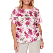 Alfred Dunner® Veneto Valley Short-Sleeve Floral Ruffle Top - Plus