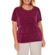 Alfred Dunner® Veneto Valley Short-Sleeve Tiered Accordion Top - Plus