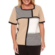 Alfred Dunner® Madison Park Short-Sleeve Colorblock Stripe Pullover Sweater