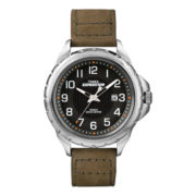 Timex® Expedition Mens Silver-Tone Brown Leather Strap Watch