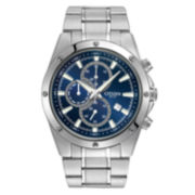 Citizen® Mens Silver-Tone Blue Dial 10ATM Chronograph Watch AN3530-52L