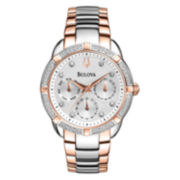 Bulova Womens Two-Tone Diamond-Accent Multifunction Watch