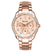 Bulova Womens Rose-Tone Diamond-Accent Multifunction Watch