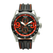 Ingersoll® Bison Mens Silver-Tone Black & Orange Automatic Sport Watch