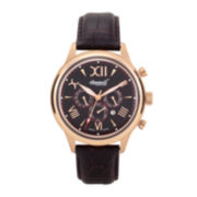 Ingersoll® Haida Mens Rose-Tone Black Leather Strap Automatic Watch