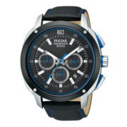 Pulsar® Mens Silver-Tone Black Chronograph Watch