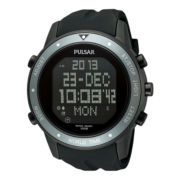 Pulsar® World Time Mens Black & Gray Rubber Strap Digital Watch