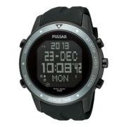 Pulsar® World Time Mens Black & Gray Rubber Strap Digital Watch