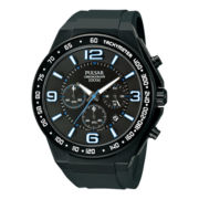 Pulsar® Mens Black & Blue Rubber Strap Chronograph Watch