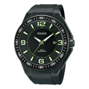 Pulsar® Mens Black & Green Rubber Strap Watch PS9227