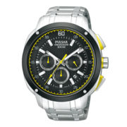 Pulsar® Mens Silver-Tone Black & Yellow Chronograph Watch