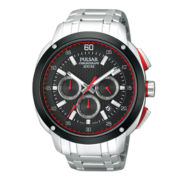 Pulsar® Mens Silver-Tone Black & Red Chronograph Watch