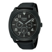 Pulsar® Mens Black Leather Strap Multifunction Watch