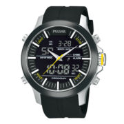 Pulsar® Mens Analog/Digital Black Strap Watch PW6001