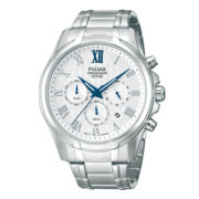 Pulsar® Mens Silver-Tone 10ATM Chronograph Watch