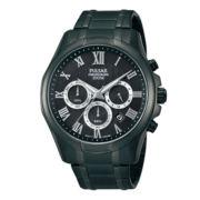 Pulsar® Mens Black Chronograph Watch