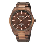 Pulsar® Mens Brown Ion-Plated Bracelet Watch