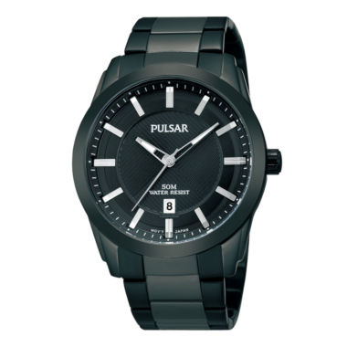 jcpenney.com | Pulsar® Mens Black Ion-Plated Bracelet Watch  PH9017